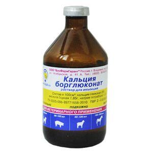 Borglukonát vápenatý vo veterinárnej medicíne: pokyny