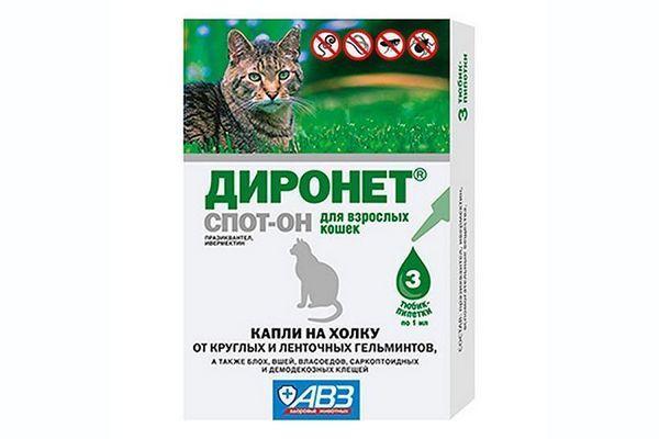 Краплі Діронет для кішок і котів