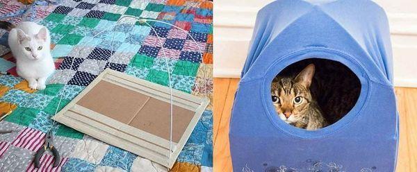 Будиночок для котів з футболки