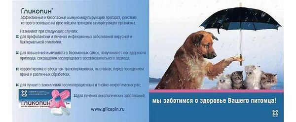 Показання до застосування Глікопіна для тварин
