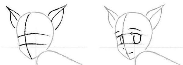Як намалювати дівчину кішку аніме