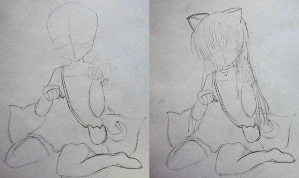Дівчинка-кішка: етапи малювання