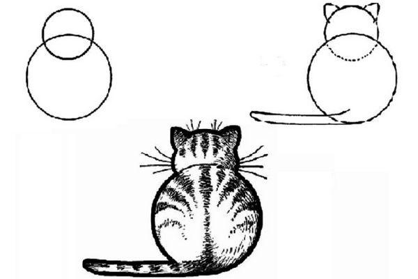 Малюнок кішки з кіл