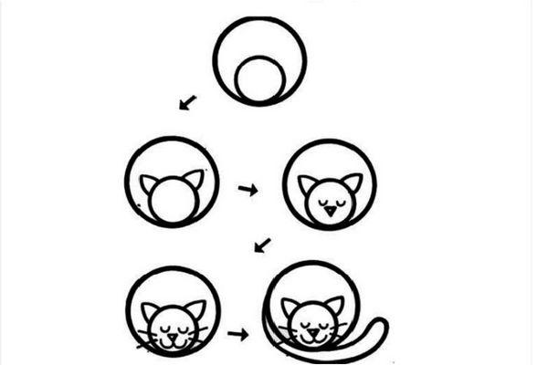 Покроковий малюнок сплячої кішки