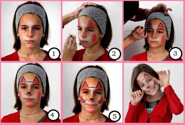 Покрокова інструкція як намалювати кішку на обличчі дитини