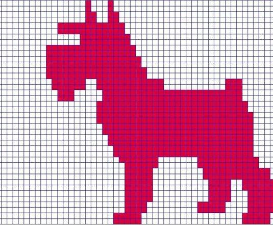 Малюнок собаки по клітинках