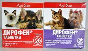 Dirofenové tablety pre červy pre mačky a psy